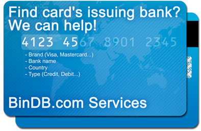 Online issuer identification number database that support visa, mastercard and american express cards!